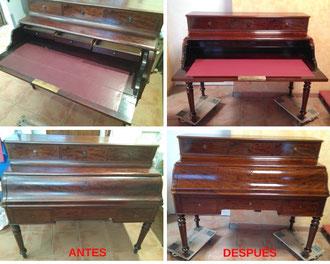 Restauración de escritorio victoriano en madera de caoba del siglo XIX.