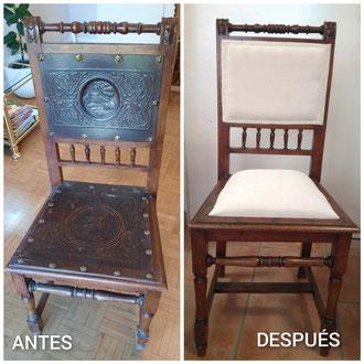 Restauración de sillas modernistas de principios del siglo XX.