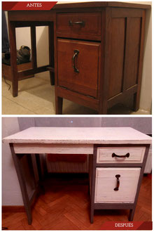 Restauración mesa de escritorio con pintura a la tiza