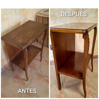 Restauración de mesita auxiliar de los años 40.