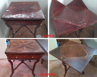 Restauración de mesa de juego con marquetería.