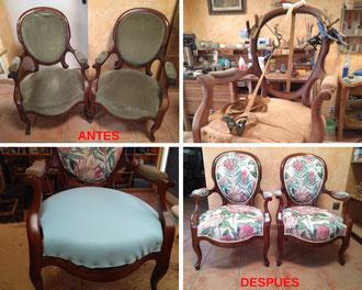 Restauración de sillones isabelinos del siglo XIX.