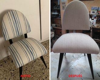 Restauración de sillas de los años 60.
