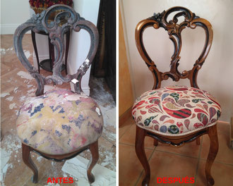 Restauración de silla isabelina del siglo XIX.