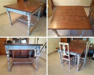 Restauración de mesa alfonsina de madera de nogal.