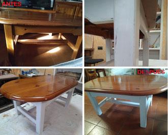 Restauración de mesa baja con acabado a la tiza.