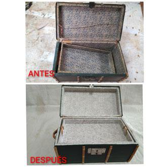 Restauración de baulito pequeño de principios del siglo XX.