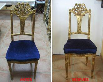 Restauración de sillas de baile. Siglo XIX.