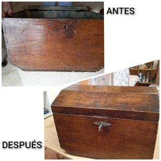 Restauración de baúl de madera de eucalipto de finales del siglo XIX.