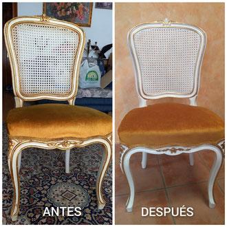 Restauración de sillas isabelinas de principios del siglo XX.