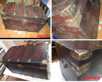 Restauración de baúl revestido con piel de mediados del siglo XX.