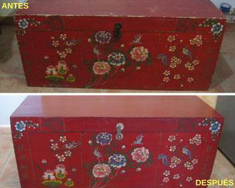 Restauración baúl chino.