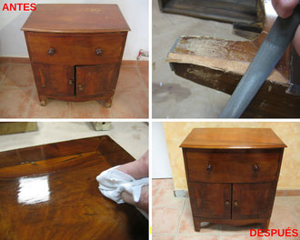 Restauración mesita victoriana.
