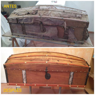 Restauración de baúl de madera del siglo XIX: