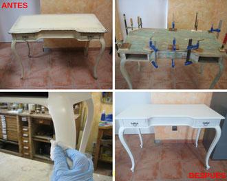 Restauración mesa francesa estilo Luis XV.