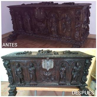 Restauración de arcón estilo remordimiento español. Año 1940-50.