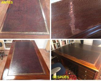 Restauración de escritorio chapado en caoba y nogal de mediados del siglo XX.
