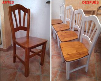 Restauración de sillas de pino con acabado a la tiza.