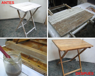 Restauración de mesa de tijera.
