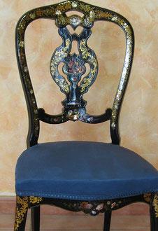 Restauración de silla isabelina.
