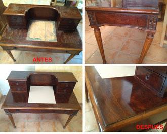 Restauración de escritorio inglés en madera de palosanto de finales del siglo XIX.