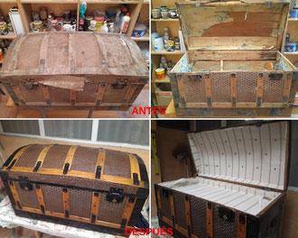 Restauración de baúl de chapa de principios del siglo XX.