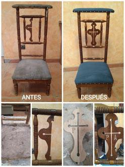 Restauración de reclinatorio del siglo XIX.