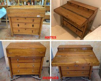 Restauración de escritorio de barco en madera de alcanfor. Mediados del siglo XVIII.