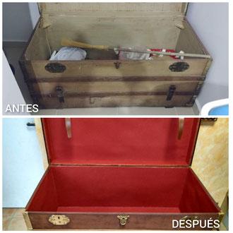 Restauración de baúl de viaje de principios del siglo XX.