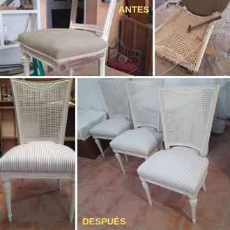 Restauración de sillas estilo Luis XVI.