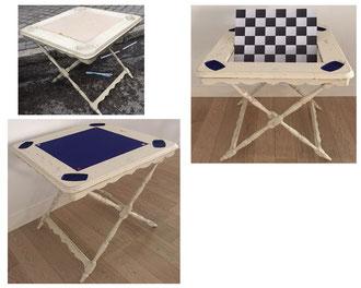 Restauración mesa de juego plegable. Mediados siglo XX