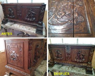 Restauración de arcón de nogal. Siglo XX.