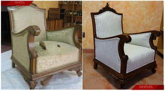 Restauración butaca descalzadora. Siglo XIX. Estilo Luis XV.