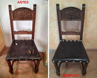 Restauración de sillas castellanas del año 1920.