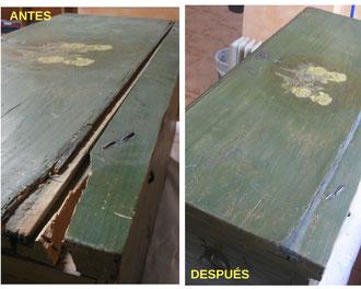 Restauración arcón policromado.