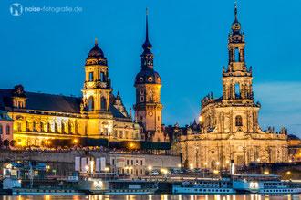 Dresden bei Nacht - Brühlsche Terasse - Terassenufer