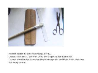 Anleitung Buchbinden mit Fadenheftung Schritt für Schritt Anleitung als PDF Datei zum herunter ladenHerstellen des Buchdeckels
