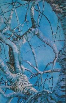 Almond tree, pastel 23x31  Sylvie Berman artiste peintre