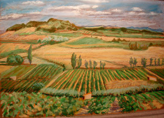 Minervois, summer end, pastel 15x11 Sylvie Berman artiste peintre