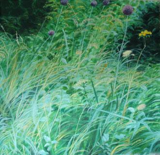 Danse avec l'ail sauvage, H.s.t. 100x100   Sylvie Berman artiste peintre