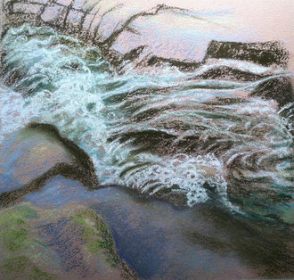Torrent, pastel 15x15 Sylvie Berman artiste peintre