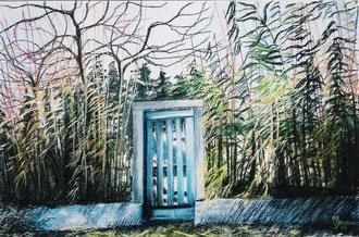 La porte du jardin, pastel 65x50 Sylvie Berman artiste peintre