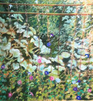 Courges et volubilis, pastel 21x22 Sylvie Berman artiste peintre