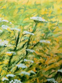 Detail of Summer mead, pastel Sylvie Berman artiste peintre