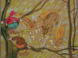 Où mangent les sangliers, pastel  Sylvie Berman artiste peintre