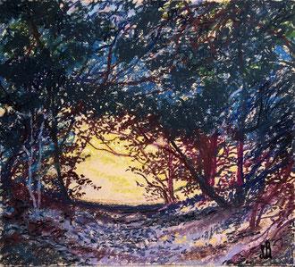 Là-bas pastel 38x29 Sylvie Berman Artiste peintre