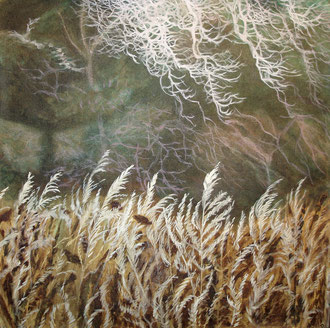 Rime on grass,  Oil on canvas 110x110  Sylvie Berman artiste peintre