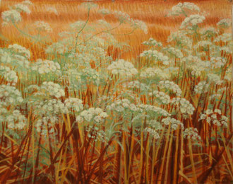 Umbels, stubble,  Oil on canvas 110x70  Sylvie Berman artiste peintre