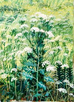 Ombelles Huile sur toile 110x70cm  Sylvie Berman artiste peintre