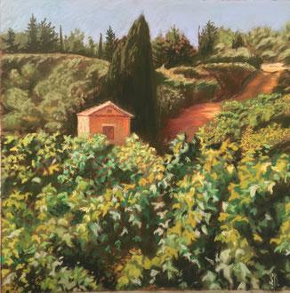 Cabane-temple pastel 37x38 Sylvie Berman  artiste peintre